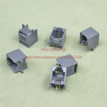 (100pcs/lot) RJ11 6P4C Gray Black Modular Jack Network Telephone Socket 4 Pin 90 Degree Needle Welded Type