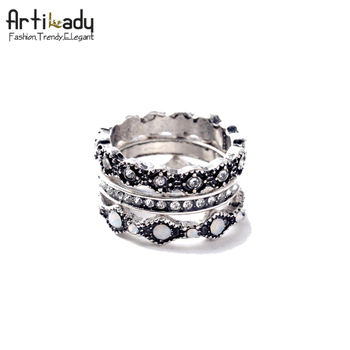 Artilady raw crystal 3pcs ring set fashion silver ink firing natural crystal rings for women jewelry