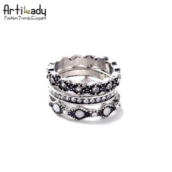 Artilady cristal raw 3 pcs bague fashion argent encre tir cristal naturel anneaux pour femmes bijoux