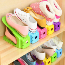 2017 New Adjustable PP Shoe Racks Double-layer Space-saving Shoes Rack Living Room Convenient Shoebox Shoe Organizer Stand Shelf(China)
