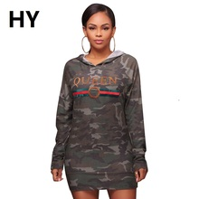 New Cotton Hoodie Women Camouflage Dress Hooded Antumn Long Sleeve Military Dress Sexy Club Party Loose Marks Printed Pullover