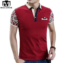 MIACAWOR Brand New Cotton Polo Shirt Fashion Print Sleeve Camisa Polo High Quality Men Polo Slim Fit Summer Tops Tees MT577(China)