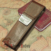 CROCODILE LUXURY BROWN  ROLLER AND FOUNTAIN PENS CASE HOLDER FOR 2 PEN PEN