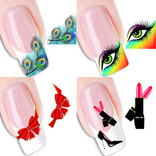 AddFavor 2PCS Peacock Feather Design Water Transfer Nail Art Sticker Decal Foil French Manicure Tips Nail Decoration Tools(China)