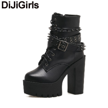 DiJiGirs Women Ankle Boots Punk Gothic Rivets Stud Strap Biker Bootie Platform Ultra Very High Heel Thick Shoes Plush Snow Boots(China)