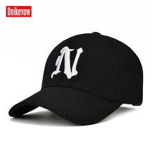 5359d3b0607 UNIKVOW 1Piece Winter Baseball Cap Solid color leisure hats with N letter  embroidered cap for men
