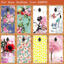 High Quality 10 styles DIY painted colored Flowers SOFT TPU Silicone Case For Asus Zenfone Live G500TG Cell Phone Cover G500TG