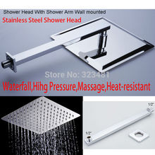 "8"" Stainless Steel Shower Head With Arm Wall Mounted Ultra thin Rain Shower Heads With Shower Arm free shipping"