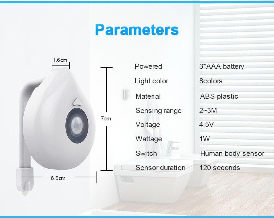 Electronics - LED Toilet Seat Night Light Motion Sensor WC Light 8 Colors