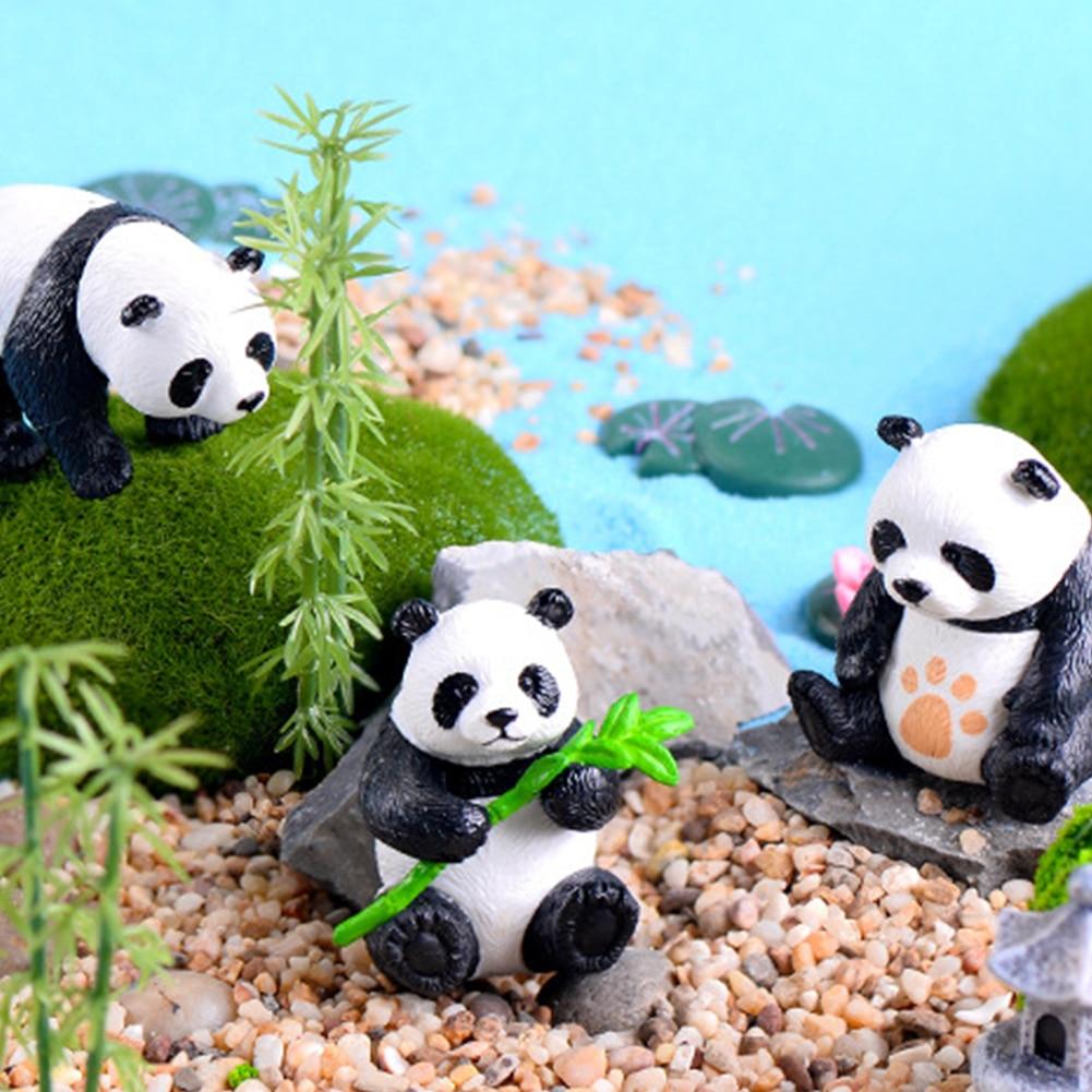4pcs Mini Panda Figurines Cartoon Micro Landscape Accessory Panda Toy Home Decor