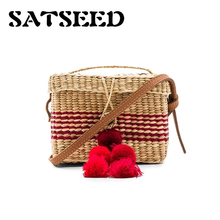 Travel Bags Korean Style Straw Beach Bag With Colorful Pompon Red Black Ratton Shoulder Bgas