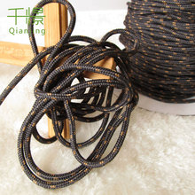 50meters Strong String Black with Yellow Dot Cord 3mm Diameter Lanyard Cord Clothes Hung Rope Bag Drawstring(China)