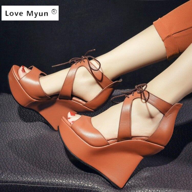 Women sandals wedges shoes platform wedges high heels Genuine Leather women sandal hemp rope straw braid platform sandals cannes<br>