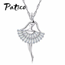 PATICO Fashion Enamel Dance BALLET Girl Fairy Angel Necklace Chain Pendant 925 Sterling Silver 2017 Fashion Cubic Zirconia Jewel