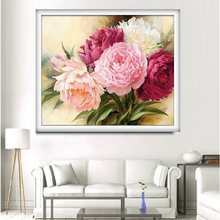 DIY 5D Cross Stitch Peony flowers Round Diamond Painting Cross Stitch Kits Diamond Mosaic Home Decoration Handicraft Embroidery