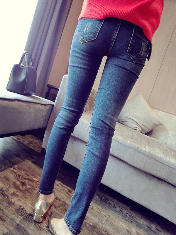 2016 new holes patched jeans pants slim slim plus velvet pencil pants female feet thickОдежда и ак�е��уары<br><br><br>Aliexpress