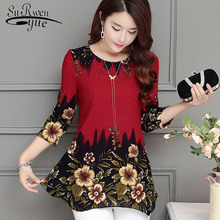 2018 New Fashion women blouse shirt plus size 4XL Chiffon red women's clothing o-neck floral Print feminine tops blusas 993D 30(China)