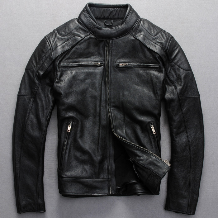 Factory genuine cowhide natural real leather coat motorcycle clothing suit luminous jacket Men plus size female outwear