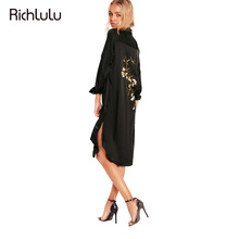 RichLuLu Apparel Back Floral Embroidery Dress Women Clothing Casual Loose Side Split Female Vestido Sexy Summer Shirt Dress