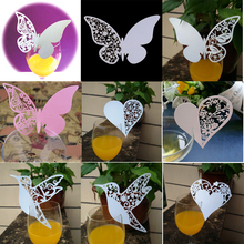 DIY New 20pcs Butterfly Place Escort Wine Glass Cup Paper Card for Wedding Party Home Decorations White  Pink  Name Cards