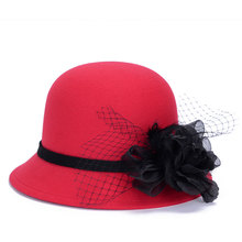 Red Fedora Hats for Women Dome Bucket Caps Noble gauze element Feather Big Floral Queen Hat mature Winter Lady Headgear LQJ01092