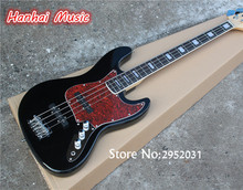 Hot Sale Custom 4-String Bass Guitar with Black Color,Red Pickguard,Maple Neck,Rosewood Fretboard and can be Customized