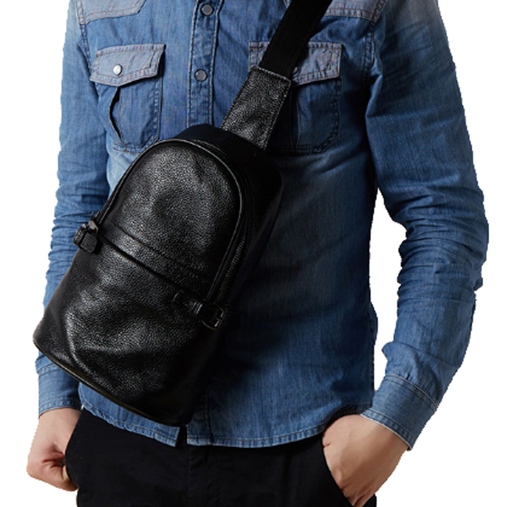 Male Genuine Leather First Layer Cowhide Crossbody Bag Riding Tourism Leisure Cross Body Sling Chest Day Back Pack <br>