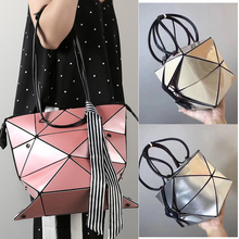 Pink women bag Convertible Shoulder Bag Fashion tote bag women geometric bag plaid shopping tote brand geometric laser bag