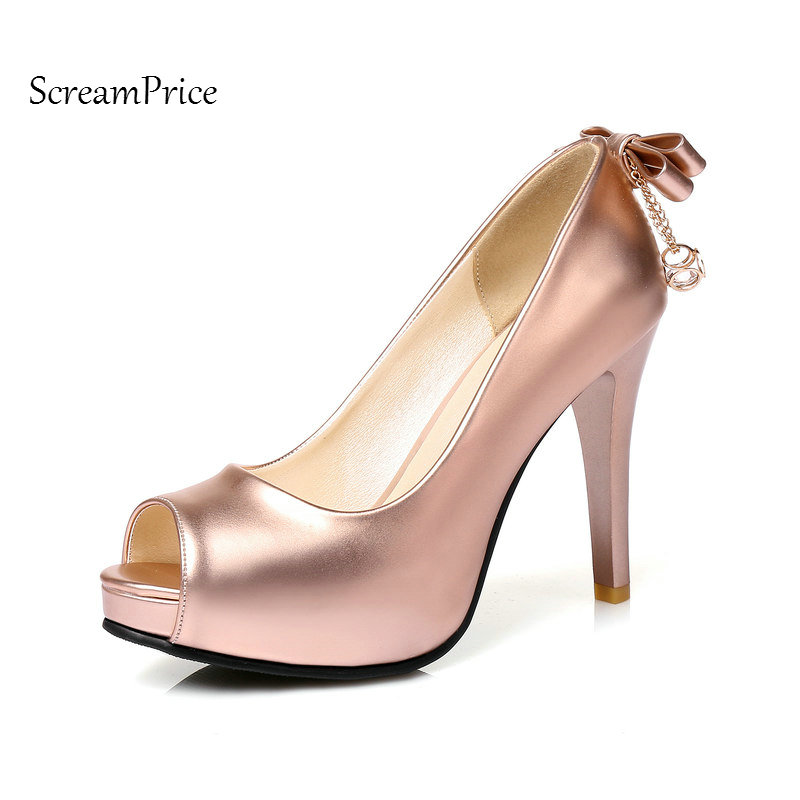 The New Peep Toe Woman Lazy Pumps Fashion Bow Knot Party High Heel Shoes Platform Thin High Heel Woman High Heel Shoes Gold<br>