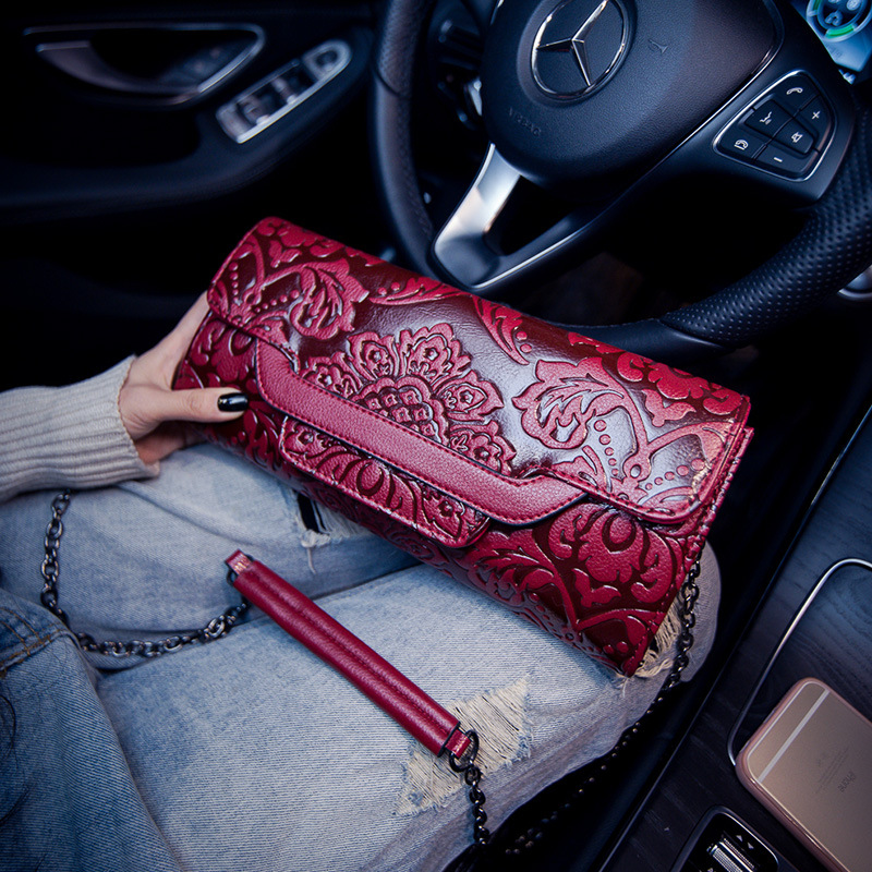 New Fashion Embossed Flowers Ladies Bag Top-handle Women Bags Chinese Style Female Handbag Quality Leather Shoulder Bag Chain<br>