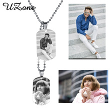 UZone Military Army ID Tag Necklace Stainless steel Custom Engraved Necklace Beads Chain Cool Men Gift(China)