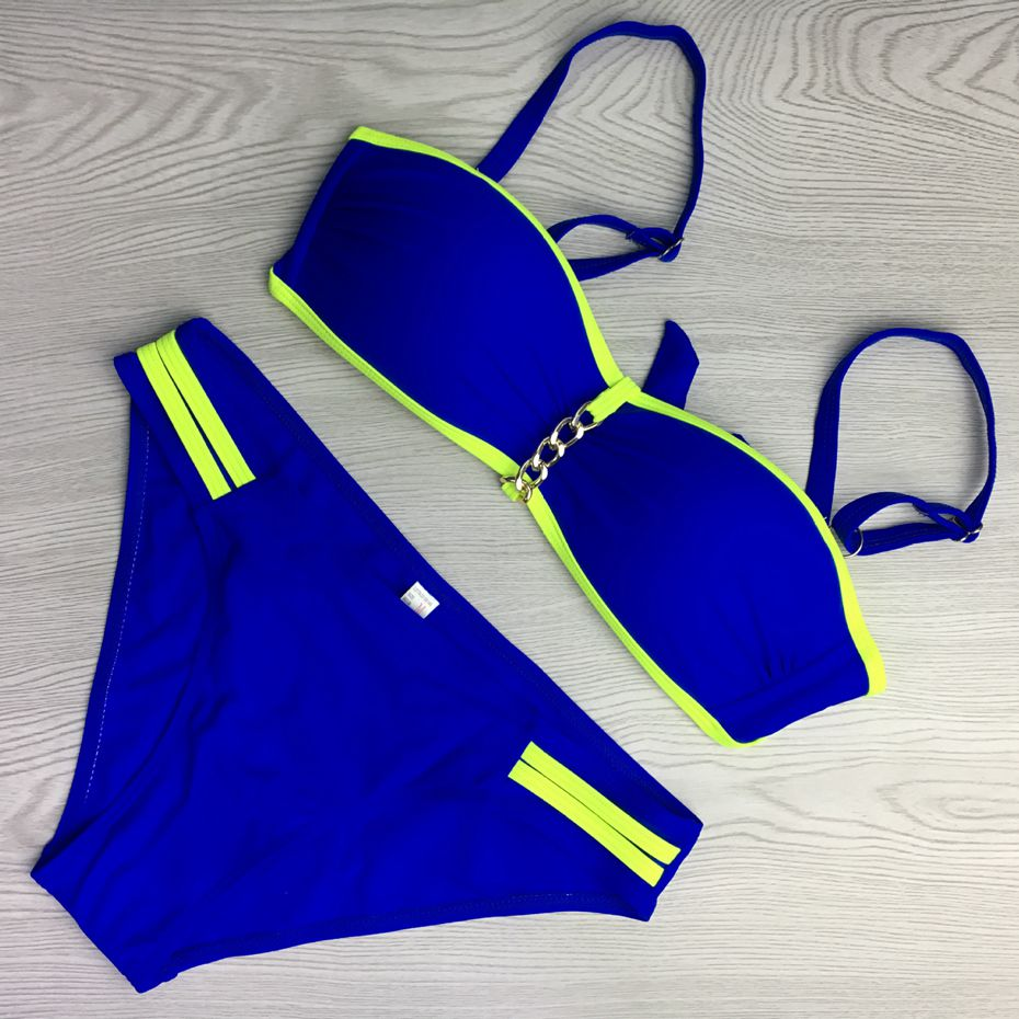 2017 New Sexy Biquini Set Women Swimsuit Blue Bikini Push Up Women Swimwear Gold Chains Bathingsuit Beach Wear<br><br>Aliexpress