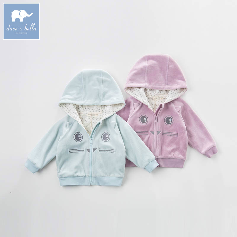 DB7199 dave bella spring unisex infant baby hooded coate kids print outerwear toddler children high quality lovely clothes<br>