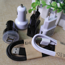 Micro 2.0 USB Data Sync Charging Cable Cords+Travel Wall Charger Adapter+Dual Mini Car Charger+for LG Samsuang Galaxy S4 Note 2
