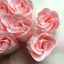 Free Shipping 60pcs=10boxes Rose Flower Bath Body Soap Favors Paper Rose Petals Soap w/ Charm  Wedding Favors Party Gifts