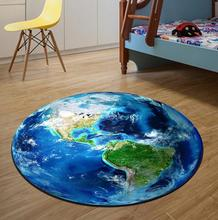 3D Earth Round Mat 60/80/100/120/160CM alfombras dormitorio Carpet Living Room Deurmat Dier rugs Swivel chair Mats tapis chambre(China)