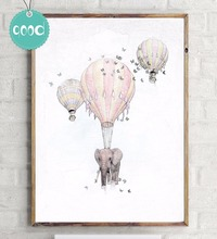 Elephant with Fire Balloon Sketch Canvas Art Print Painting Poster, Wall Pictures for Home Decoration, Home Decor Ye15-1(China)
