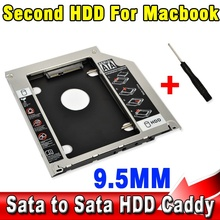"T 9.5mm Second HDD Caddy 2nd SATA 2.5"" Hard Disk Drive SSD Enclosure for Apple Macbook Pro A1278 A1286 A1297 CD ROM Optical Bay"