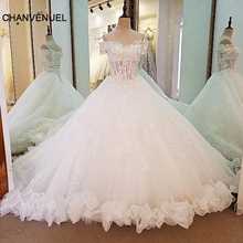Buy LS0006 beautiful lace wedding gown ball gown coset back beading lace bridal gowns vestidos de noiva de luxo 2017 real photos for $207.05 in AliExpress store