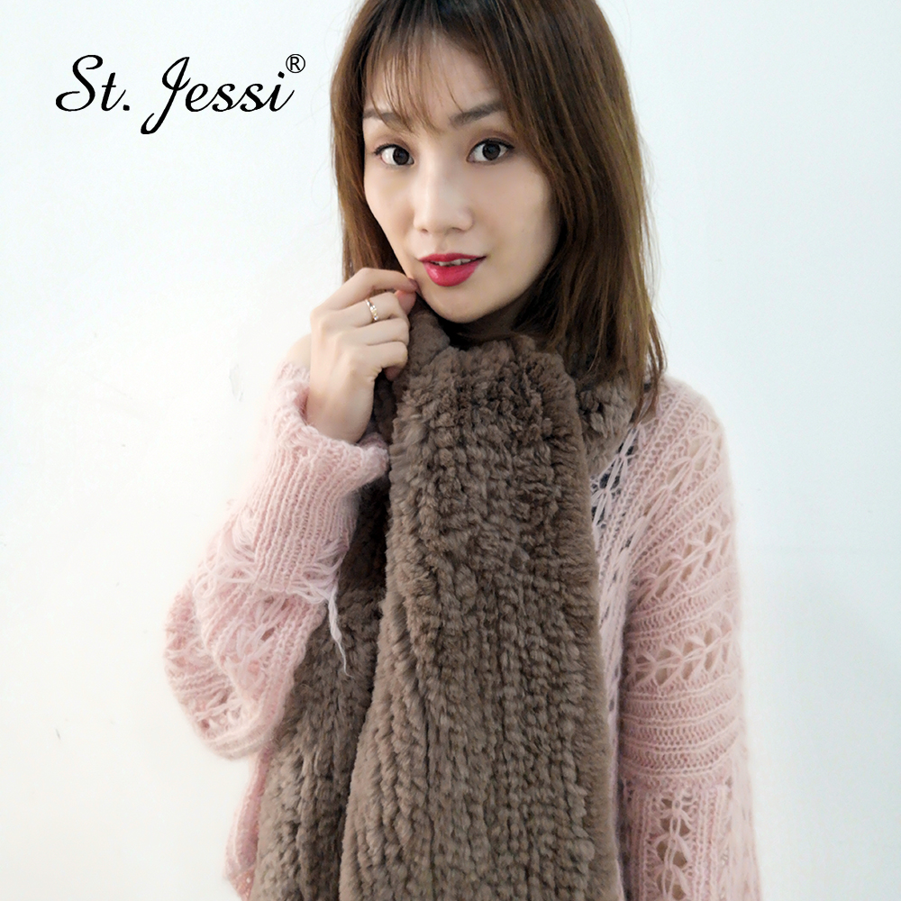 ST.Jessi 2019 New Women's Long-Thickening Style Natural Real Rabbit Fur Scarf Handmade Knitted Fur Scarves Shawl Solid Color