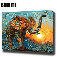 BAISITE DIY Framed Oil Painting By Numbers Animal Pictures Canvas Painting For Living Room Wall Art Home Decor E716(China)