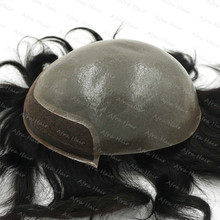 Indian Hair Super Thin Skin V-looped Indian Hair Toupee Mens Hair Piece Pure Handmade Hair System H091