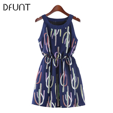 DFUNT Women Sleeveless Casual Halter Dresses O-Neck Cactus Printed Chiffon Female Summer Dresses High Waist Vestido Plus Size
