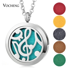 30mm Aroma Diffuser Locket Necklace 316L Stainless Steel Magnetic Musical Note Randomly Send 5pcs Felt Pads as Gift VA-260(China)