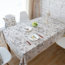 White Peony Cotton Linen Tablecloths Tea Table Cloth Dinner Tablecloth American Country Table Cloth Table Cover Retro Pattern