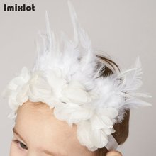 Imixlot Lace Flower Baby Girl Headbands Photography Props White Feather Headband Elastic Headwear Children Hair Accessories(China)