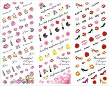 Valentine Special 3 IN 1 Water Transfer Decal Stickers Nail Art Tips Romance Rose Perfume 3 Sheet In One Page HOT211-213(China)