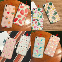 For iPhone X 8 6 6S 7 Plus Cute Rainbow Unicorn Flamingo Fruit Strawberry Banana Hamburgers Soft Silicone TPU Matte Cover Case