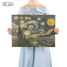 TIE LER Impressionist Masterpiece Painting Starry Sky Poster Paper Adornment Wall Sticker Paper Craft(China)