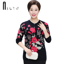ASLTW Plus Size Cardigan 2017 New Lady's Sweater Long Sleeve O Neck Printing Knitwear Tops Casual Sweater For Women(China)